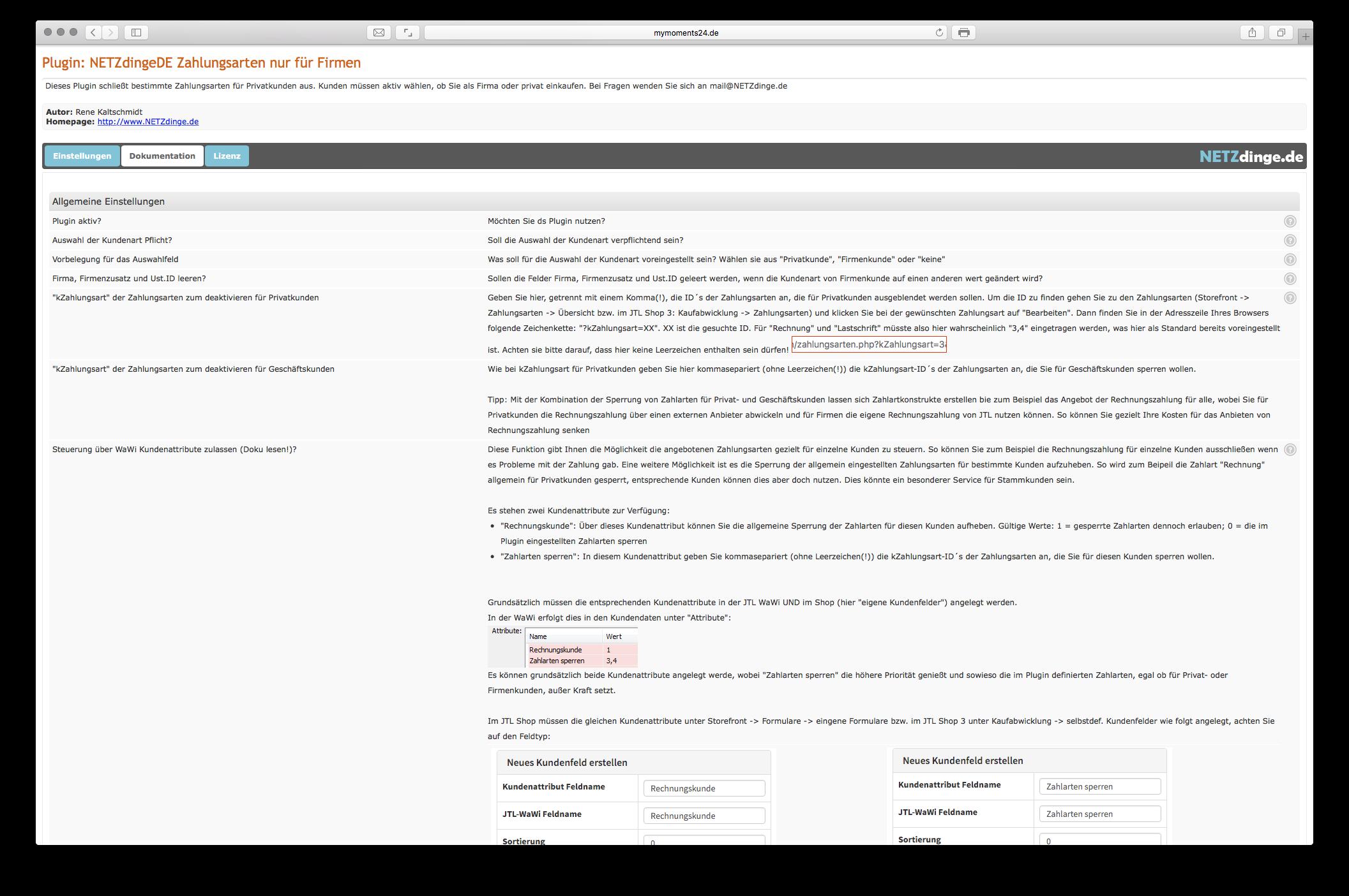 Abwahl bestimmter Zahlungsarten f�r Privatkunden by NETZdinge.de
