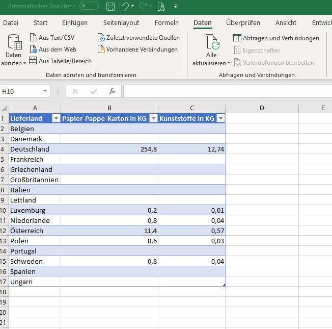 Excel-Liste mit Auswertung der Verpackungsmenge