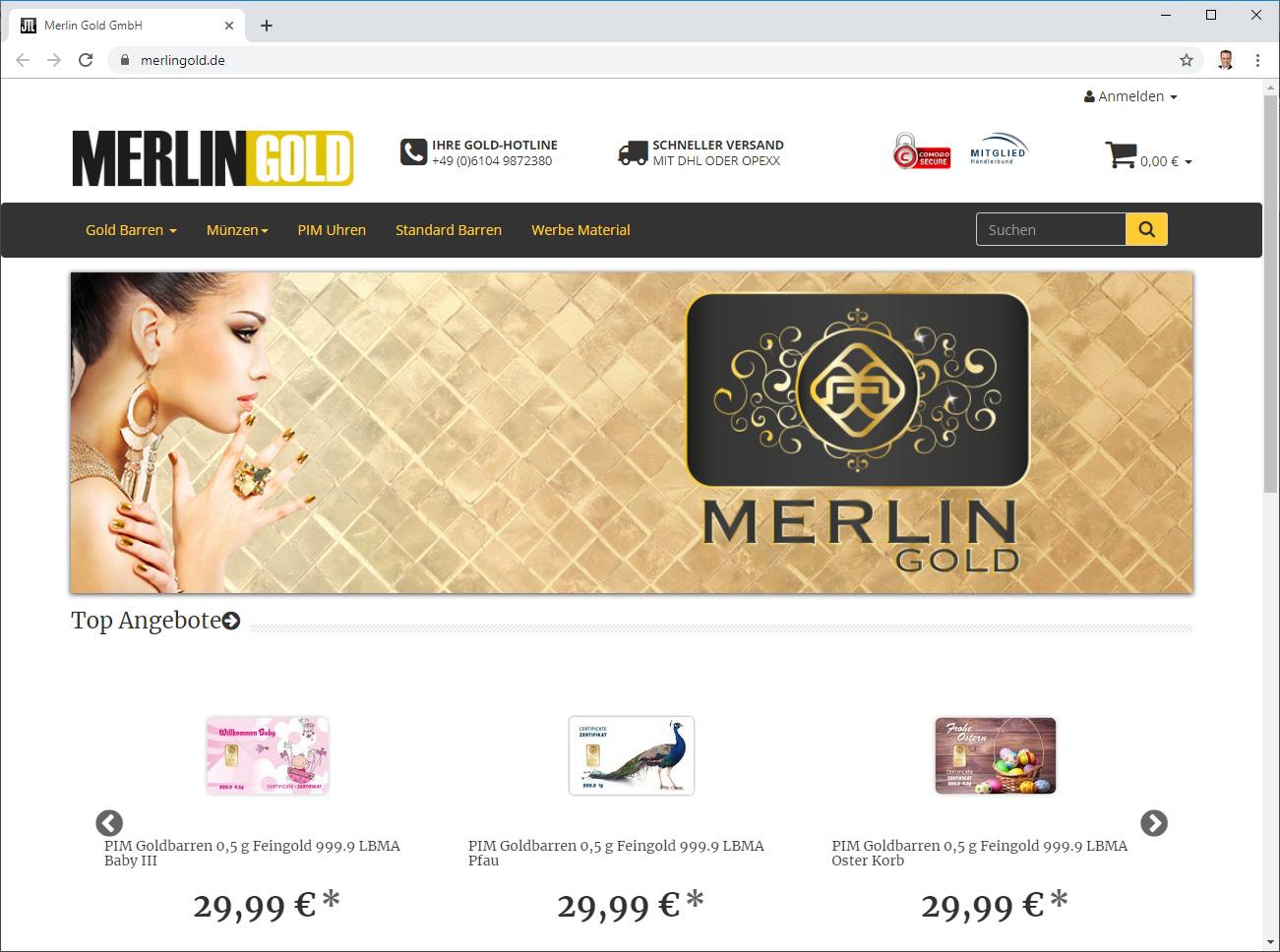 Merlingold ; Onlinehandel für Goldprodukte