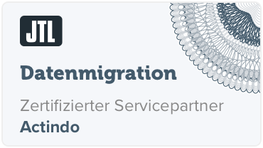 Zertifikat: Datenmigration - Actindo